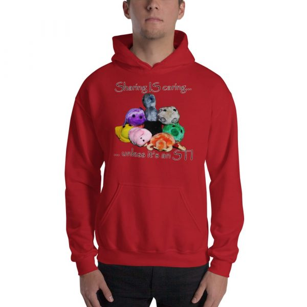 sharing is caring red hoodie