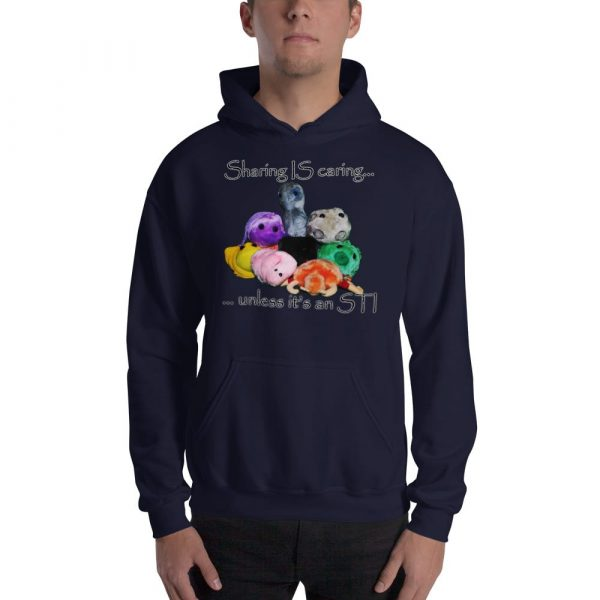 sharing is caring dark blue hoodie