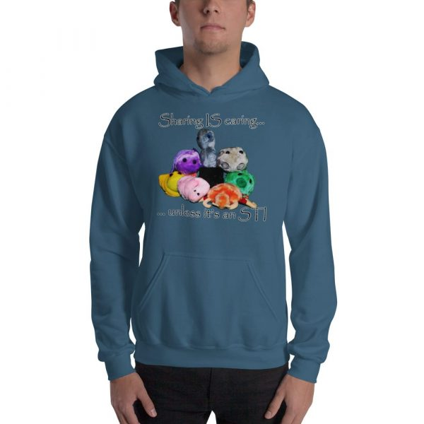 sharing is caring blue hoodie