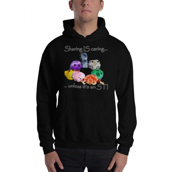 sharing is caring black hoodie