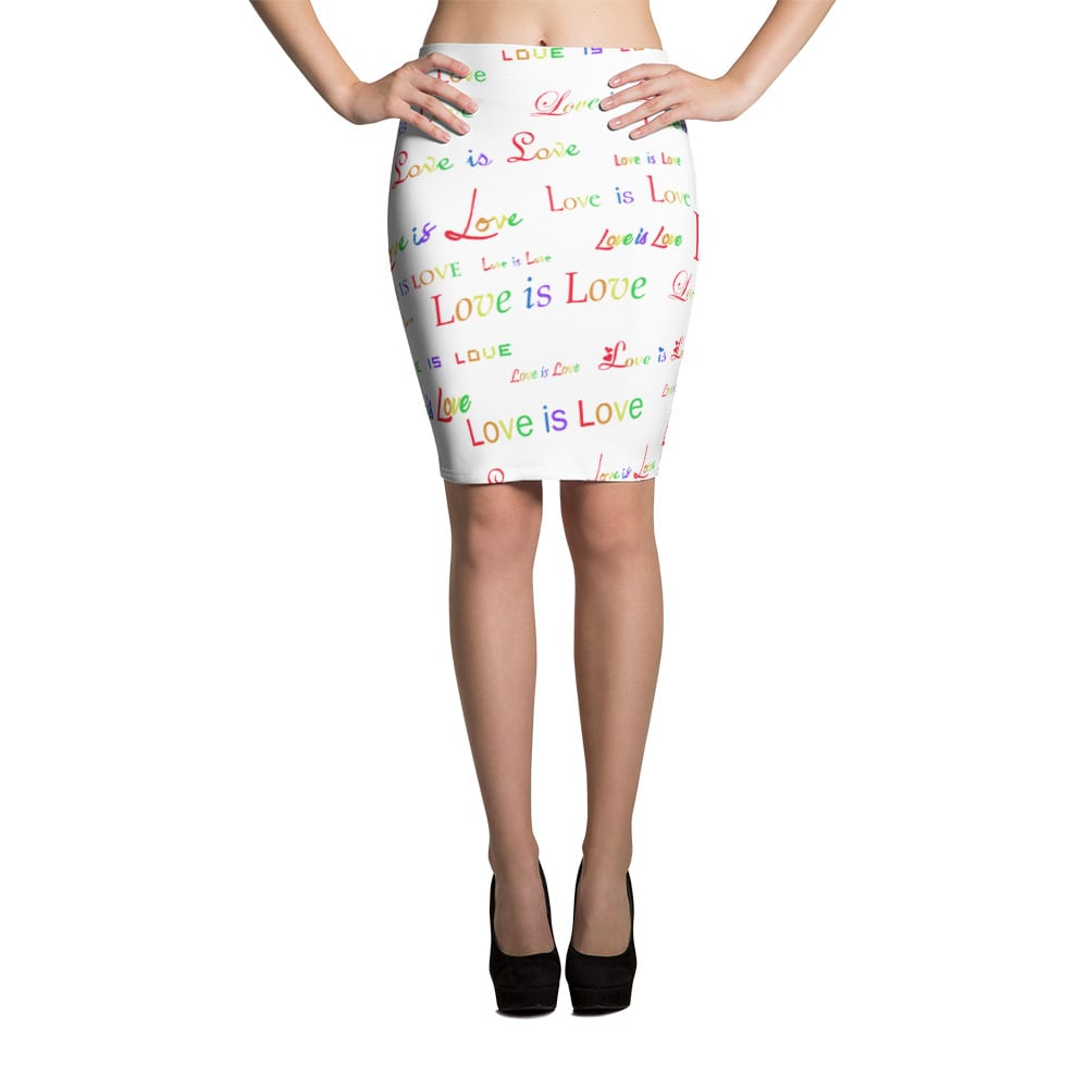 ladies white love is love pencil skirt