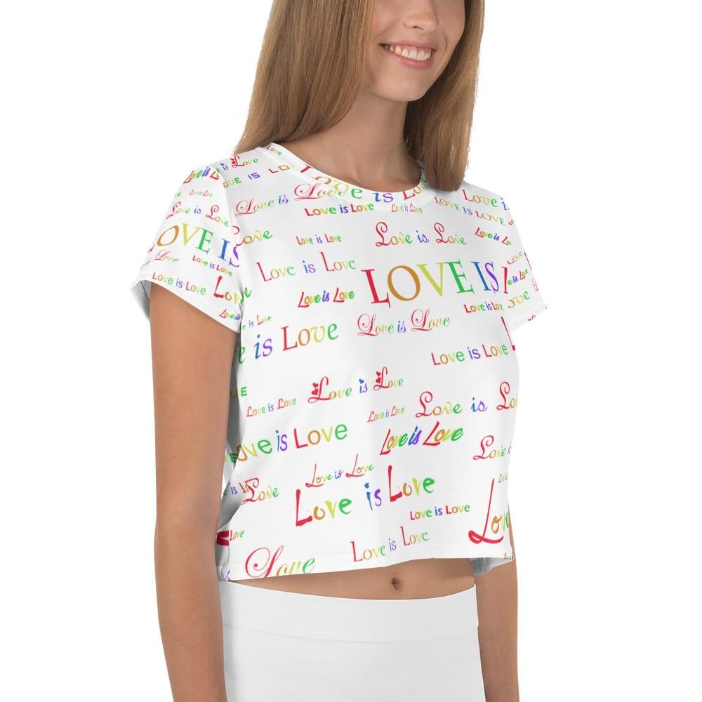 ladies white love is love crop top