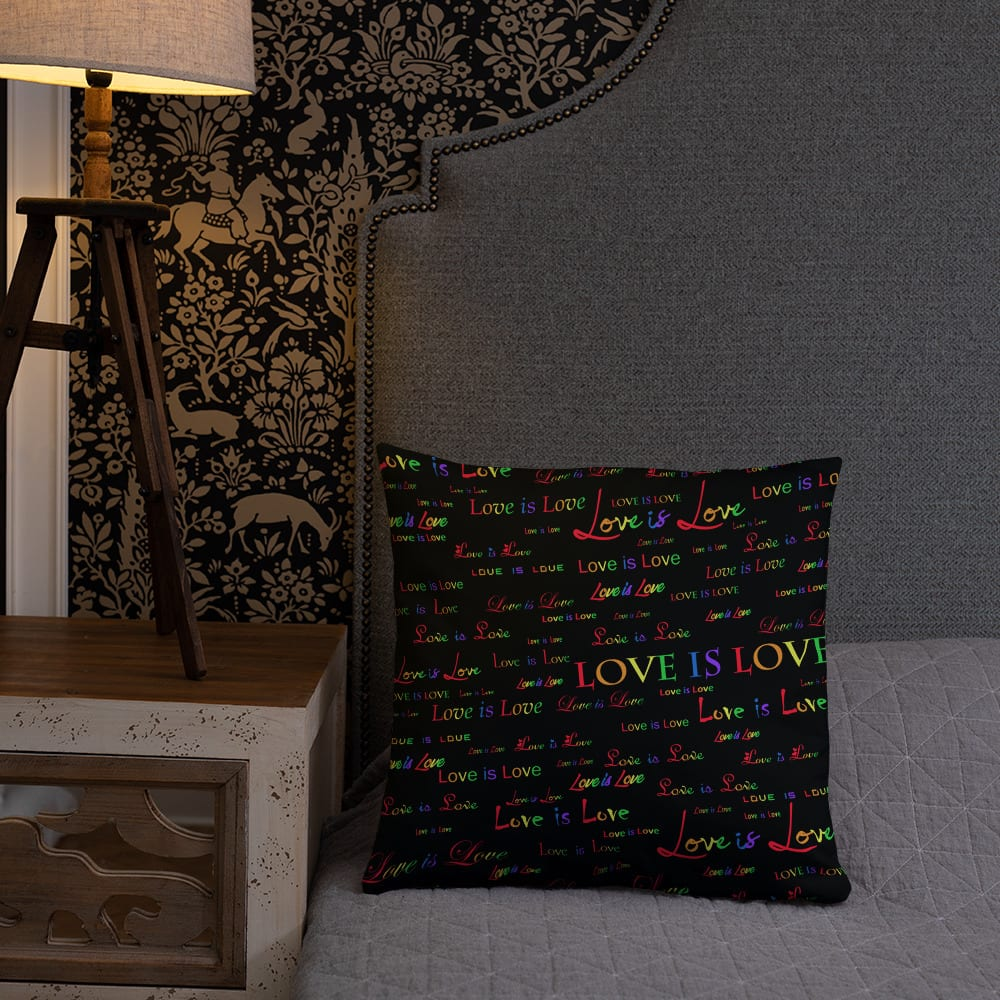 Love is Love Black Throw Pillow