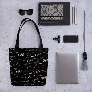 Black fuck tote bag
