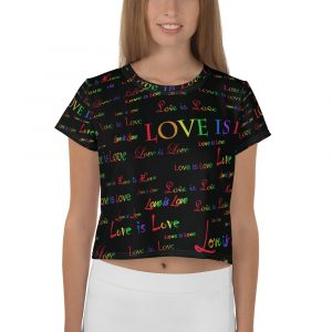 ladies black love is love crop top
