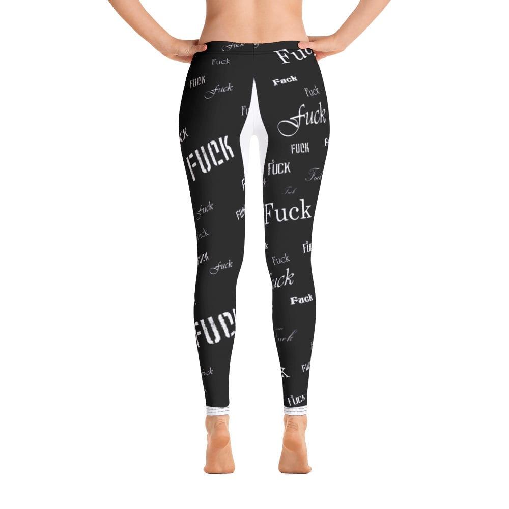 ladies black fuck leggings