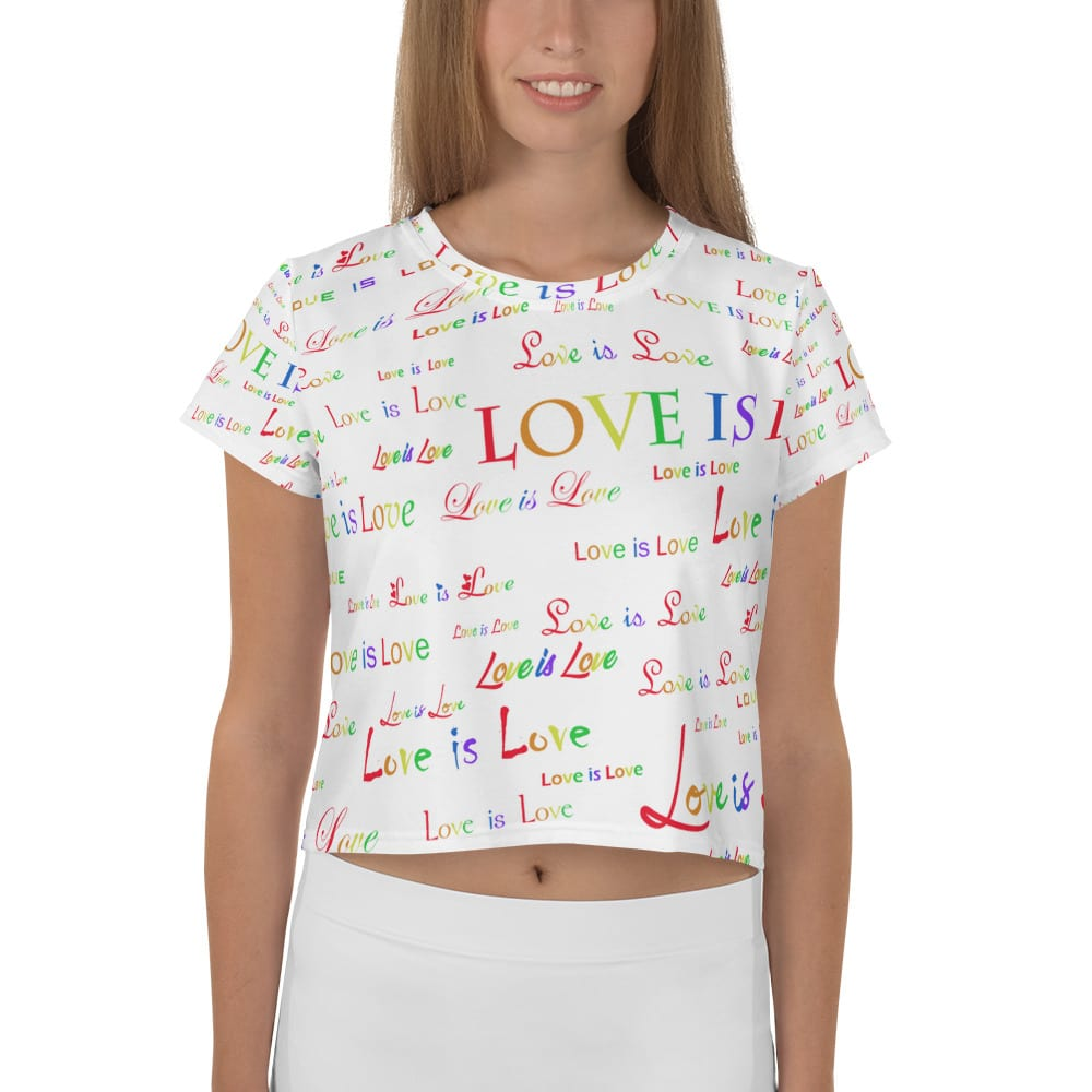 ladies white love is love crop top
