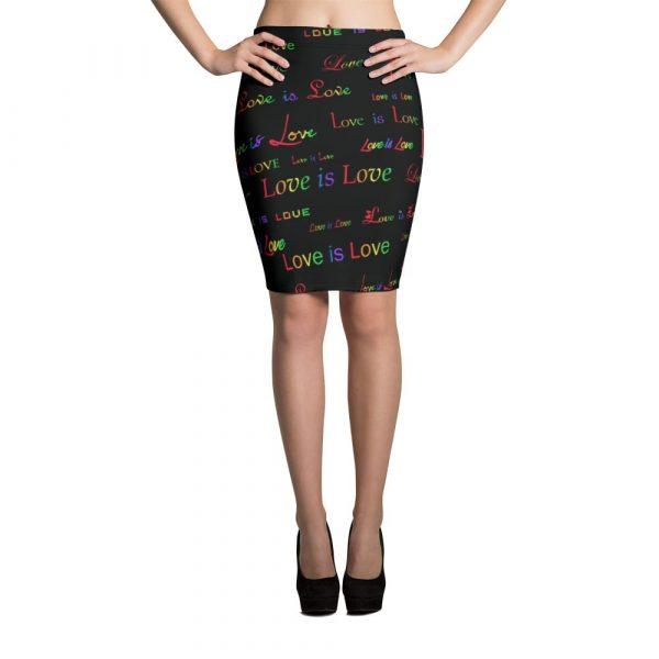 ladies black love is love pencil skirt