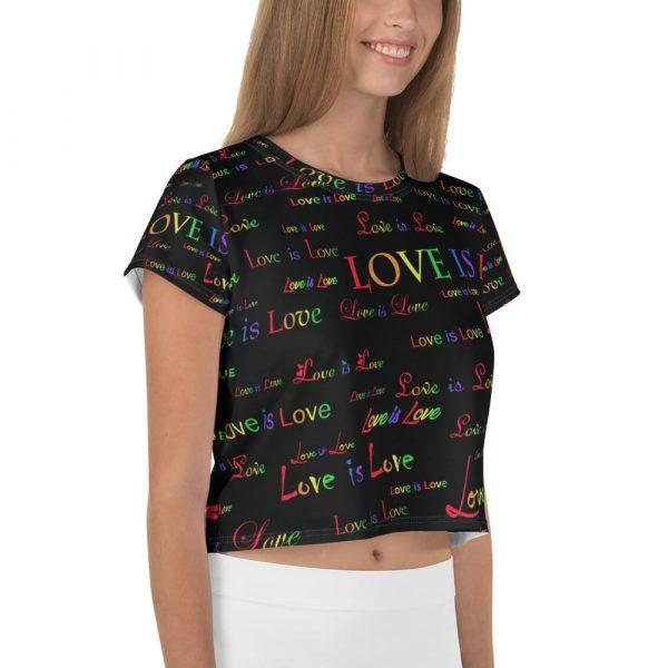ladies black love is love crop top