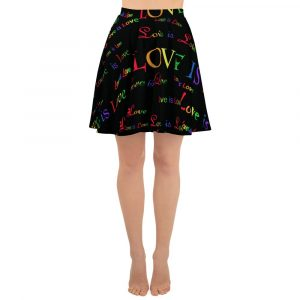 ladies black love is love skater skirt