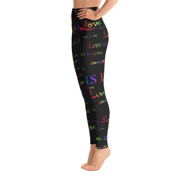 ladies black love is love yoga tights