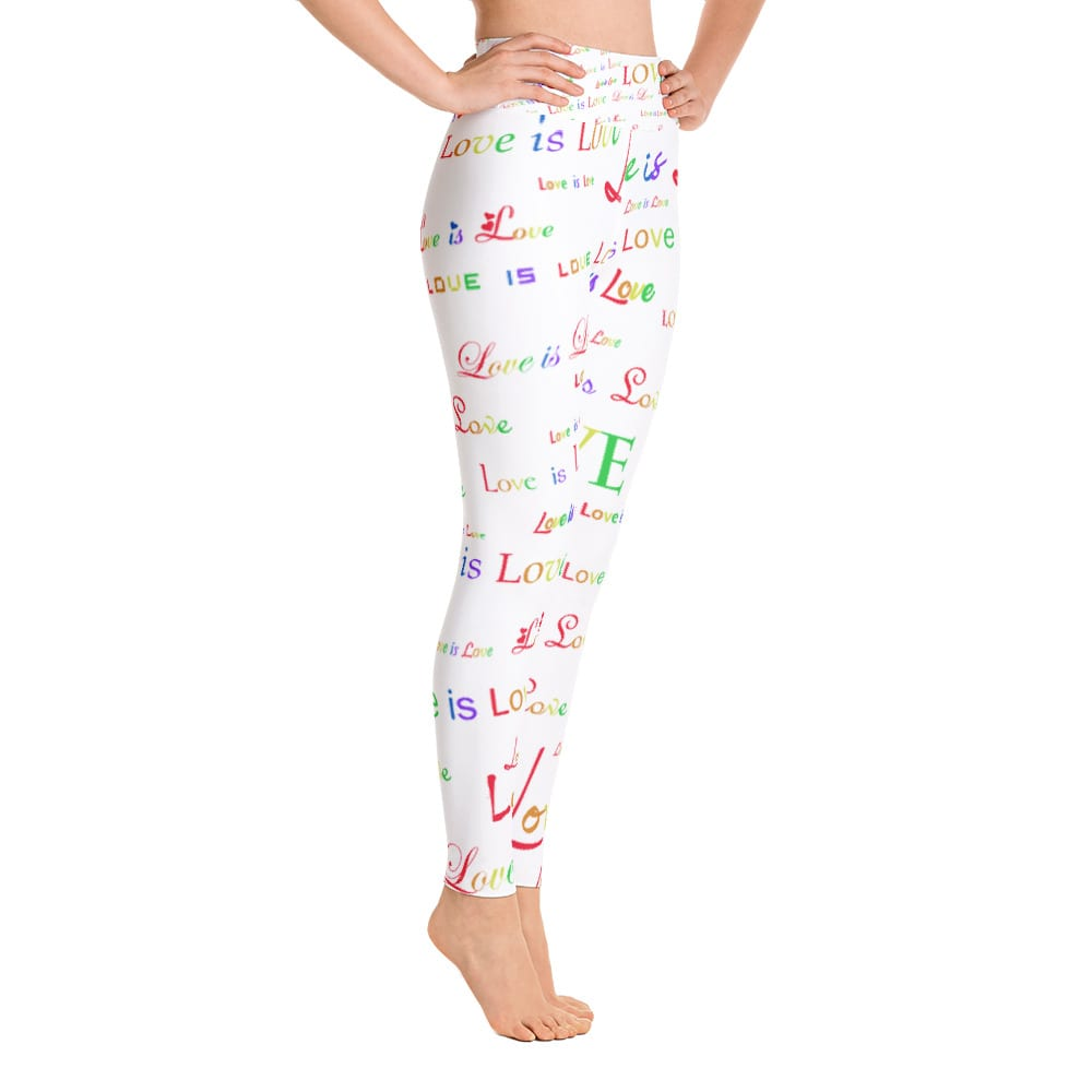 ladies white love is love yoga tights