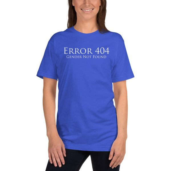 light blue error 404 gender not found unisex tshirt