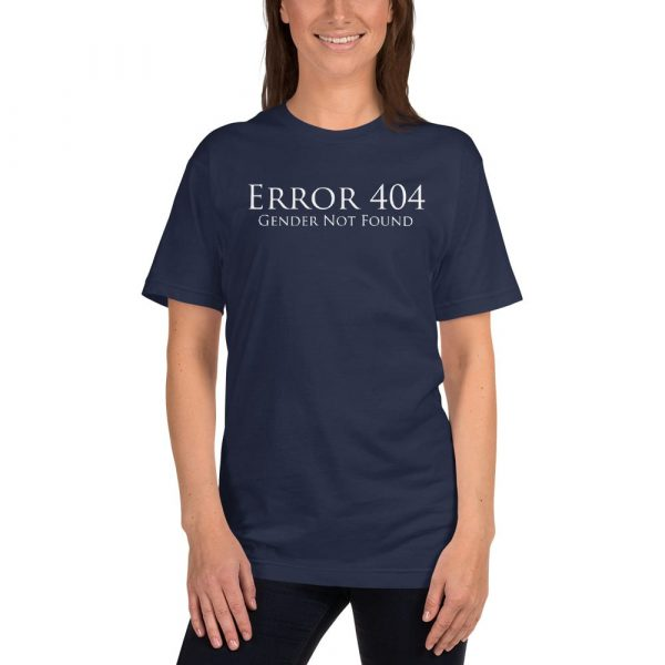 dark blue error 404 gender not found unisex tshirt