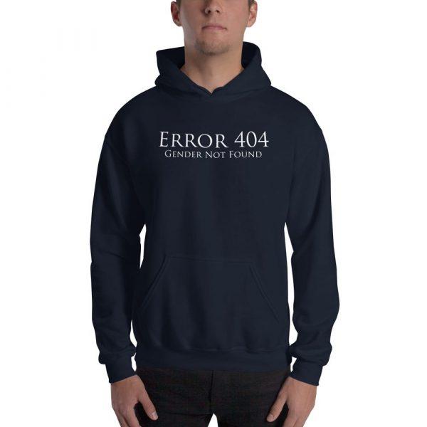 dark blue error 404 gender not found unisex hoodie