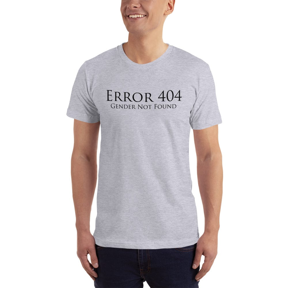 light grey error 404 gender not found unisex tshirt
