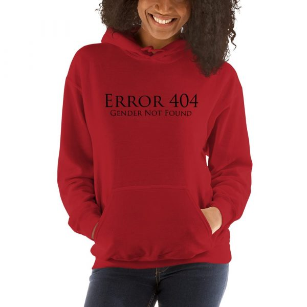 red error 404 gender not found unisex hoodie
