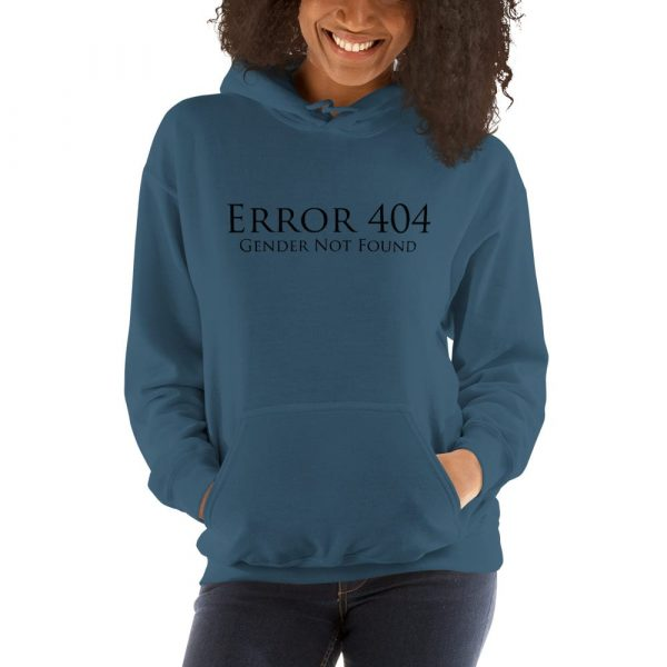 blue error 404 gender not found unisex hoodie
