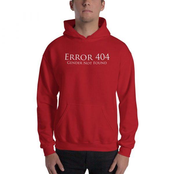 red error 404 gender not found unisex hoodie