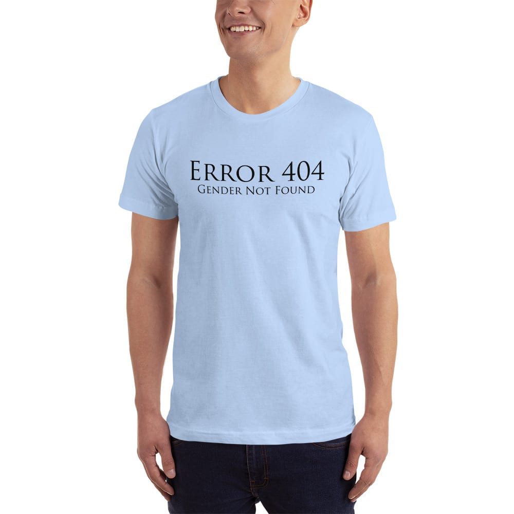 pale blue error 404 gender not found unisex tshirt
