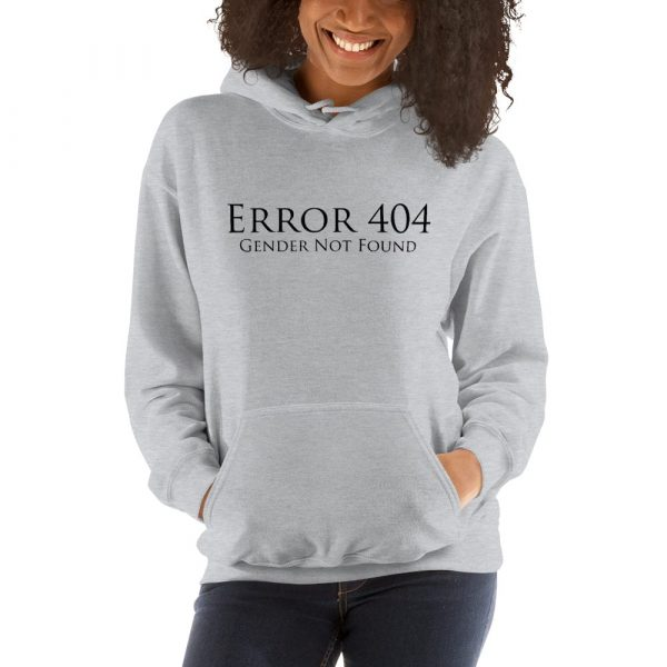 grey error 404 gender not found unisex hoodie
