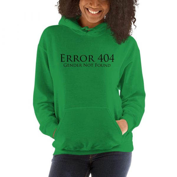green error 404 gender not found unisex hoodie
