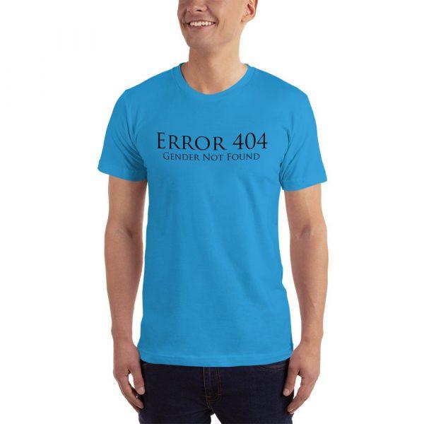 light blue error 404 gender not found unisex tshirt