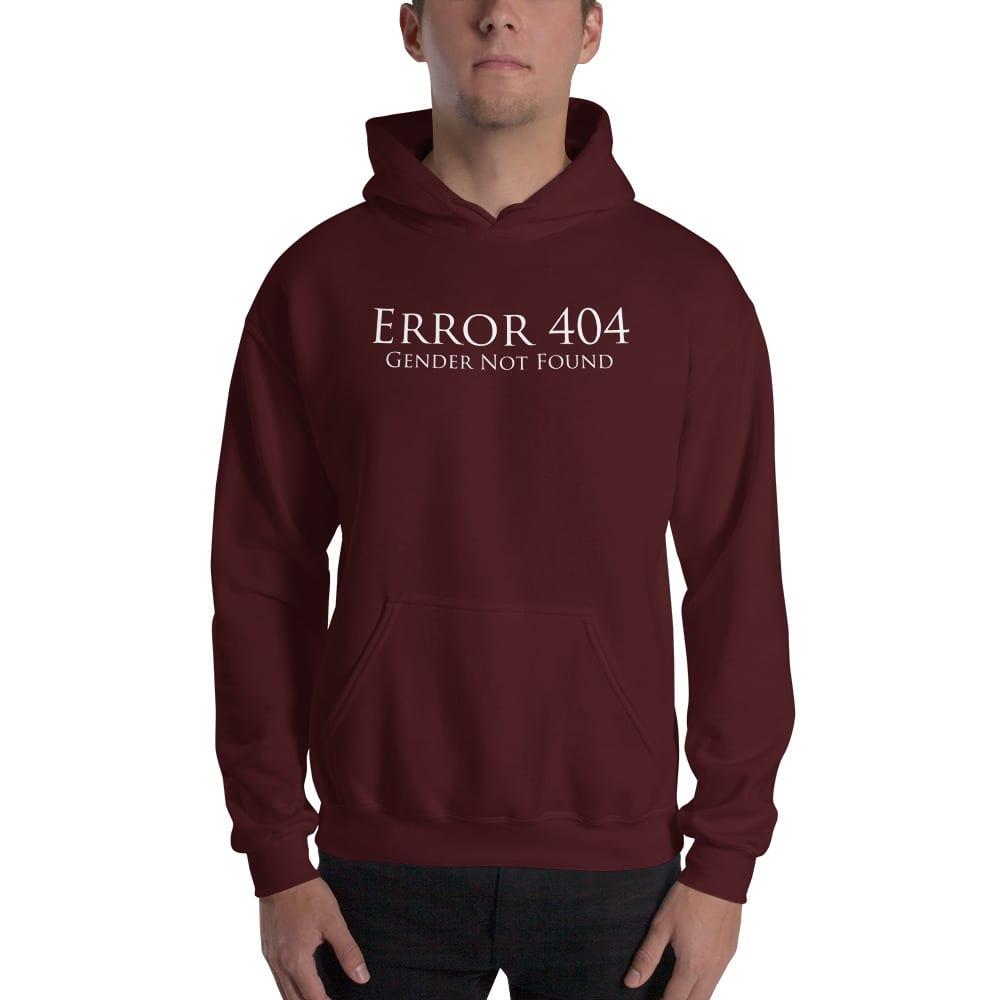 dark red error 404 gender not found unisex hoodie
