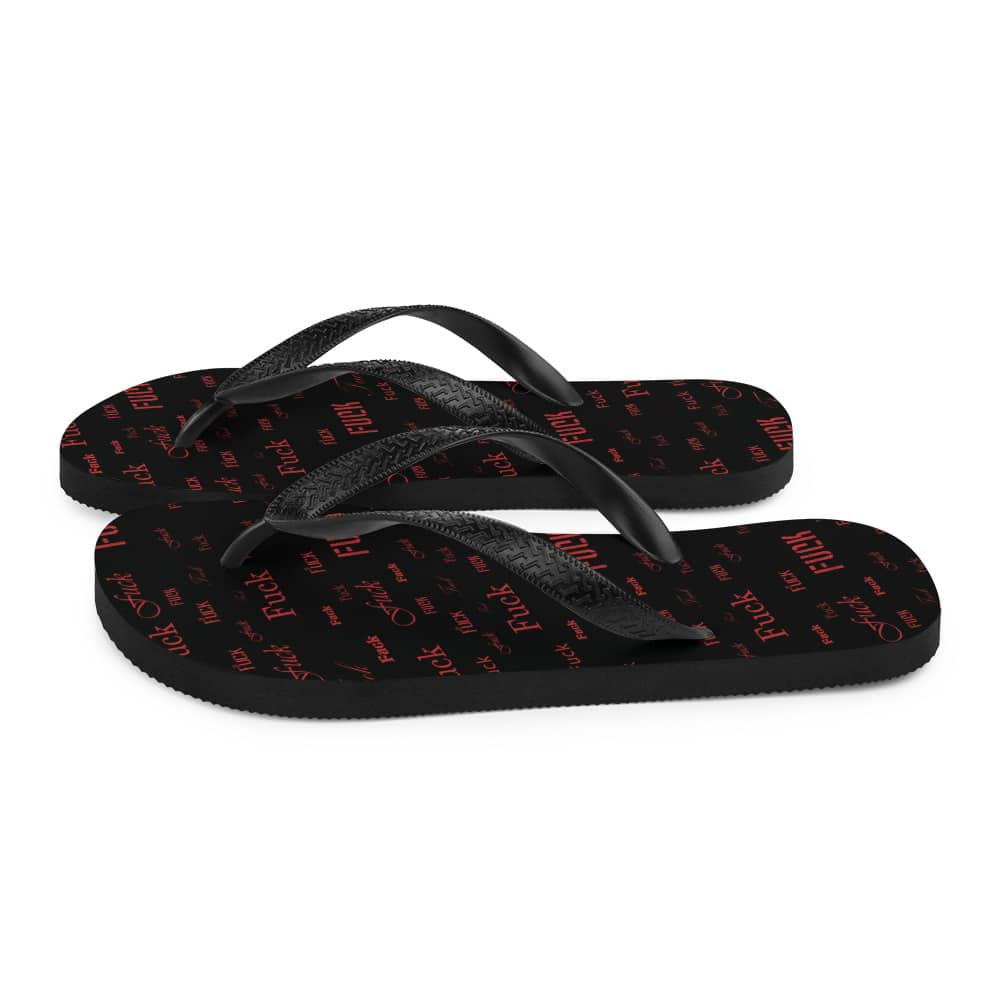 red fuck sandals