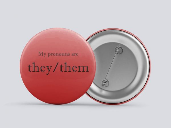 red they/them gender pronoun button by Explore Sex Talk
