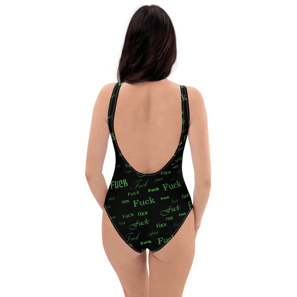 green fuck one piece bathing suit