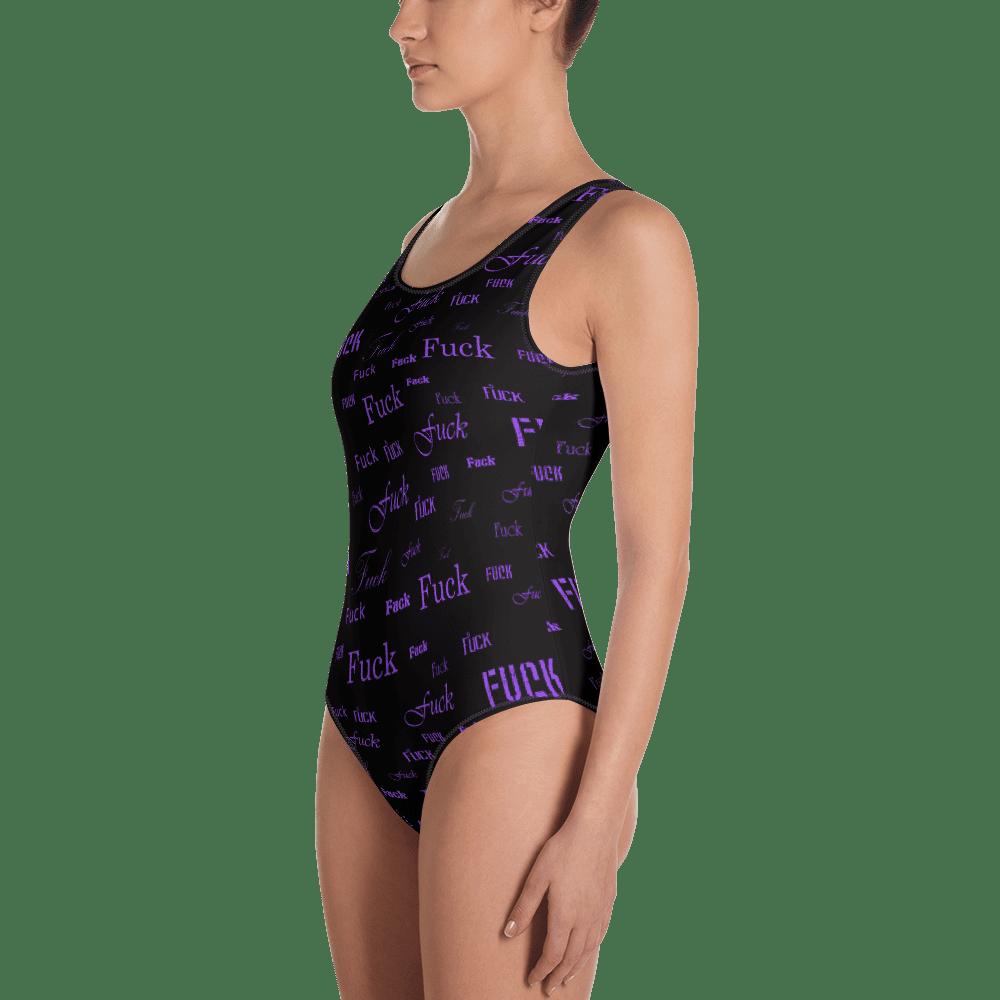 purple fuck one piece bathing suit
